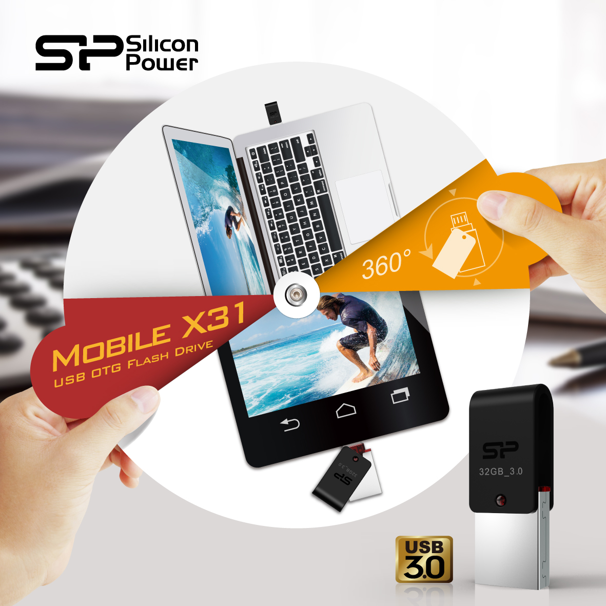 SP Silicon Power USB 3.0 OTG Flash Drive